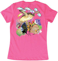 Guy Harvey Guardian Angel Women's Classic Crew Back-Print Tee with Front Signature in Hot Pink