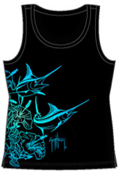 Guy Harvey Hibiscus Marlin Ladies Front-Print Tank Top in Black