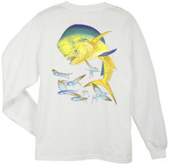 Guy Harvey Bull Dolphin Men's Back-Print Long Sleeve Tee w/Pocket in White or Aqua Blue