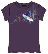 Guy Harvey GH Marlin Front-Print Junior Ladies Tee in Purple