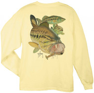 Guy Harvey Largemouth Bass & Crawdad Men's Back-Print Long Sleeve Tee w/Pocket in Yellow