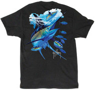 Guy Harvey Blues & Blacks Men's Back-Print Tee, w/Pocket in Charcoal Heather