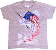 Guy Harvey Star Spangled Boys Tee in Gray or White