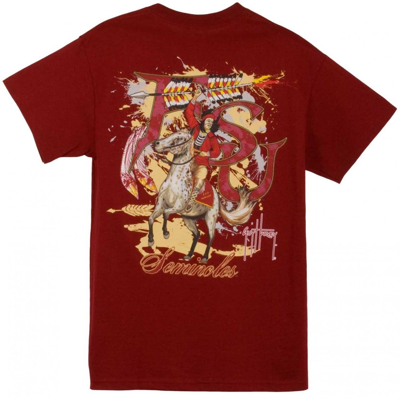 934b927afc3 Guy Harvey Florida State Seminoles Back-Print Pocketless Men's Tee in White  or Garnet