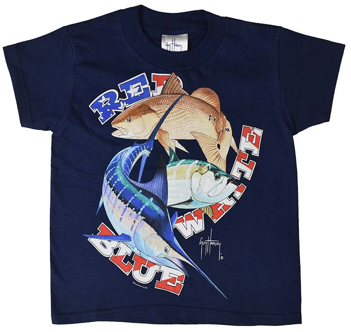 4f26c5c9 Guy Harvey Red, White & Blue Boys Tee in Navy or White. $12.50. See 4 more  pictures