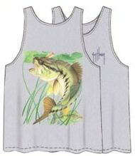 Guy Harvey Largemouth Bass Back-Print Men's Tank Top in Athletic Heather