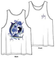 Guy Harvey Billfish Tapa Back-Print Men's Tank Top in White