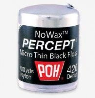 POH Percept Micro-Thin 420 Black NoWax Dental Floss - 100yds