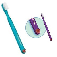 GUM 407 Classic Soft Small Toothbrush with Rubber Tip - Small Compact Head