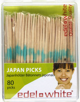 Edel+White Wooden Dental Japan Picks - 80 Pack - Standard Size