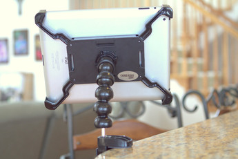 iPad clamped to Counter / Desk Caddie Buddy
