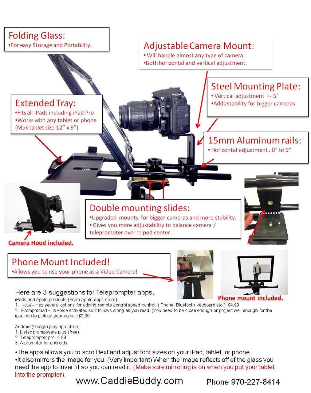 Teleprompter for iPads, Androids and Phones