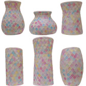 Pastel Glass Mosaic Vases (12 Pc)