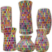 Bright Glass Mosaic Vases (12 Pc)