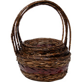 Stained Rattan Baskets with Braided Center (20 Pc)