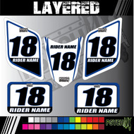 ATV Number Graphics Sticker Set / PsychMxGrafix / Layered Graphics / Black, Suzuki Blue & White