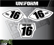Uniform Design, White Number outline, Dirk Bike Number Plate graphics