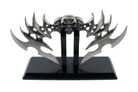 """11"""" Fantasy Blade Skull Double Blade Dagger Knife with Stand"""
