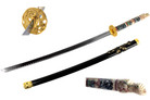 Closed Mouth Dragon Samurai Katana Sword with Black Scabbard