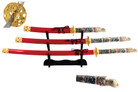4 Pcs Closed Mouth Dragon Samurai Katana Sword Set with Red Scabbard