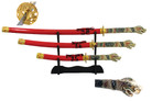4 Pcs Open Mouth Dragon Samurai Katana Sword Set with Red Scabbard