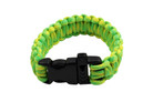 "10"" Paracord Bracelet / Emergency Whistle - Luminous Green 10 Feet Cord"