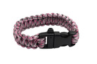 "10"" Paracord Bracelet / Emergency Whistle - Pink 10 Feet Cord"
