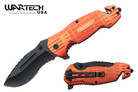 """Wartech 8"""" Tactical Assisted Opening Rescue Folding Knife with Belt Clip - YCS7013OR"""