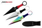 "9"" 3 Pcs Set Kunai Throwing Knife with Sheath Multi Color"