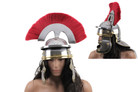Imperial Roman Helmet W/brass Accents and Red Plume - Steel
