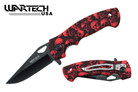 "Wartech 8"" Assisted Folding Knife - Skull RED"
