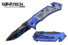 "8"" Assisted Open Knife Skull Marijuana Design Blue Handle"