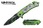 "8"" Assisted Open Knife Skull Marijuana Design Green Handle"