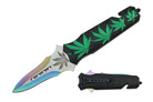 "8"" Assisted Open Black Handle with Green Marijuana Leaves"