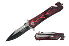 "8"" Assisted Open Black Handle with Red Flame"