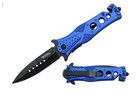 """8"""" Assisted Open Knife with Blue Handle and 3 Holes"""