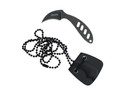"2.75"" Karambit Tactical Stone Washed Necklace Knife with K Sheath"