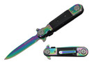 "8"" Assisted Open Knife Rainbow Blade with Belt Clip"