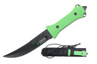 "13.25"" Black Zombie Full tang Hunting Knife with Sheath-Green"