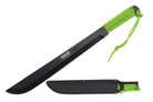 "18"" Black Blade Jungle Machete with Neon Green Handle"