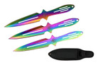 """Aero Blades 9"""" 3 Pcs Throwing Knife Thrower with Case - Rainbow Color"""