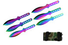 "6 Pcs 6.5"" Rainbow wings Throwing Knife Set Thrower with Case"