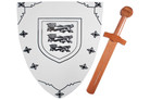 """16"""" Wood Lion Shield with Sword"""