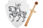 "16"" Wood Knight Shield with Sword"
