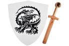 "16"" Wood Dragon Shield with Sword"