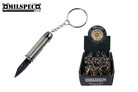 Bullet Handle Folding Pocket Knife Stainless Steel Blade with Key Chain Silver - 12 PCS SET