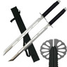 "28"" Full Tang Silver Double Ninja Combat Sword With Sheath"