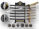 "41"" Japanese Generals Sword Set with Stand - 6 Pcs Set"