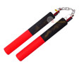 Black & Red Dragon II Foam Padded Nunchuck with Chain
