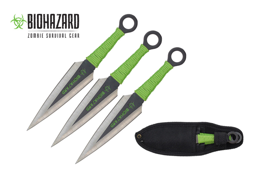 3 Pcs Biohazard Kunai Throwing Knife Set with Sheath 6.5""